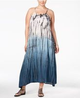 Raviya Plus Size Tie-Dyed Lattice-Back Cover-Up Dress