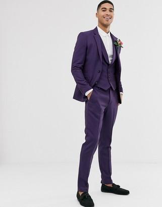 ASOS DESIGN wedding skinny suit pants in berry twill
