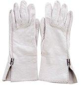 Hermes Logo-Embellished Lambskin Gloves