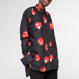 Paul Smith Women's Black Double-Cuff Cotton Shirt With 'Apple' Print