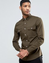 Asos Skinny Military Shirt In Khaki Twill With Long Sleeves