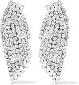 Saint Laurent Silver-plated Crystal Clip Earrings - one size