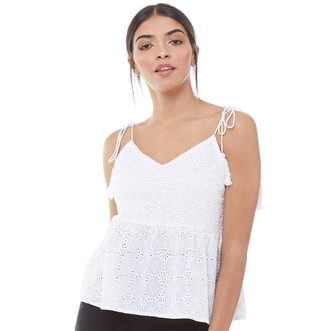 Fluid Womens Embroidered Anglaise Blouse White