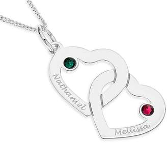 The Love Silver Collection Personalised SterlingSilver Crystal Set Double Heart Pendant