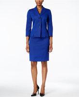 Le Suit Textured Three-Button Skirt Suit