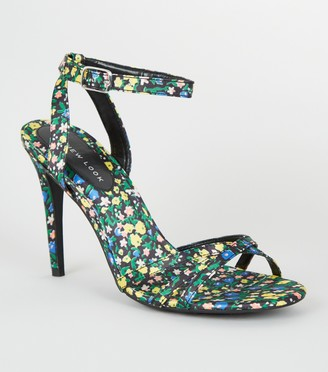 New Look Satin Floral Strappy Stiletto Heels