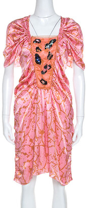 M Missoni Pink Printed Silk Embellished Bodice Ruched Detail Dress M