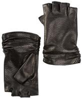Portolano Perforated Leather & Silk Fingerless Gloves