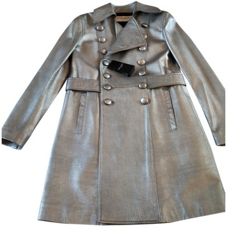 Saint Laurent Silver Leather Trench coats