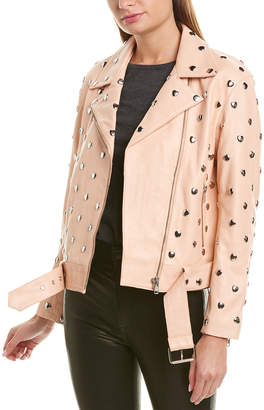 Lovers + Friends Lovers & Friends Studded Hearts Leather Moto Jacket