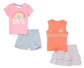 Freestyle Revolution Girls 4-12 Graphic Tees, Tanks and Shorts Mix-and-Match, 4-Piece Outfit Set