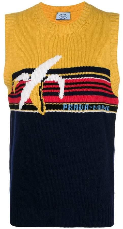 Prada intarsia knit sleeveless top