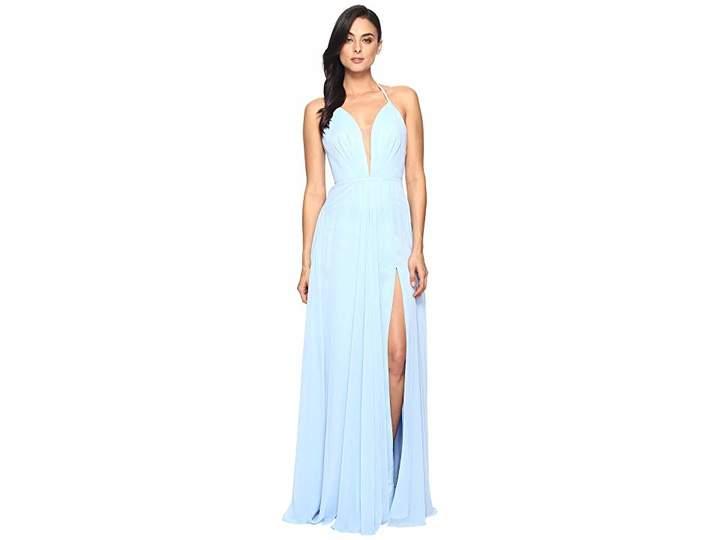 Faviana Chiffon V-Neck Gown w/ Full Skirt 7747 Women's Dress