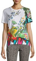 Etro Arcade Painterly Printed Tee, Green/White/Turquoise
