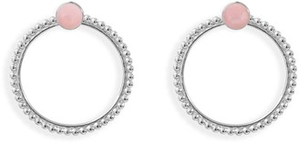 Agnes de Verneuil Stone Studs & Pearled Ear Jacket - Silver & Pink Opale