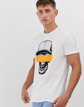 Brave Soul graphic t-shirt with neon-White