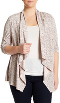 Bobeau Space Dye Button Cardigan (Plus Size)