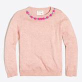 J.Crew Factory Girls' pom-pom necklace popover sweater