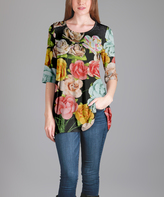 Lily Black Floral Scoop Neck Tunic - Plus Too