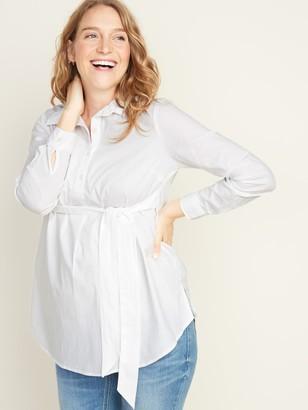 Old Navy Maternity Tie-Belt Popover Stretch Tunic Shirt