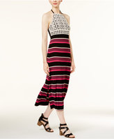 Kensie Striped Crochet-Trim Dress