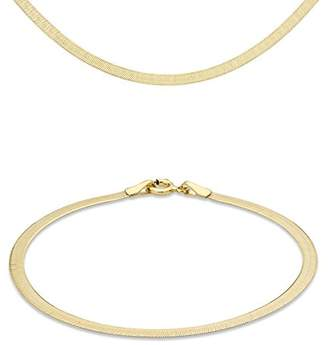 "Carissima Gold 9ct Yellow Gold Herringbone Chain Necklace and Bracelet Set (46cm/18"" and 18cm/7"")"