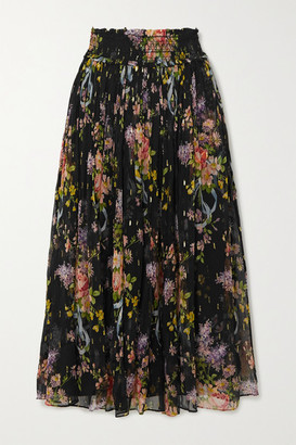 Needle & Thread Smocked Metallic Floral-print Fil Coupe Chiffon Midi Skirt - Black