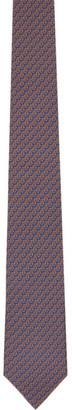 Salvatore Ferragamo Navy and Orange Penguin Tie