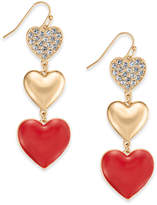 Thalia Sodi Gold-Tone Pave Triple-Heart Drop Earrings, Created for Macy's