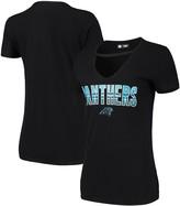 New Era Women's Black Carolina Panthers Gradient Glitter Choker V-Neck T-Shirt