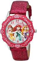 Disney Kids' W001597 Princess Stainless Steel Watch with Pink Glitter Leather Strap