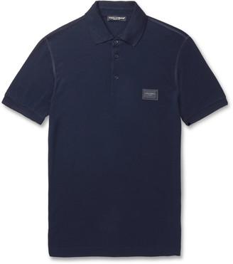 Dolce & Gabbana Slim-Fit Logo-Appliqued Cotton-Pique Polo Shirt
