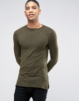 Asos Muscle Fit Jumper With Side Zips In Khaki