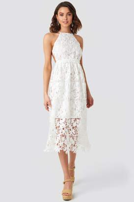 NA-KD Crochet Strap Back Dress Beige