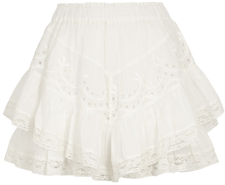 LoveShackFancy Briella white tiered cotton mini skirt