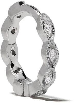 White Bird 18kt white gold diamond Maurine hoop single earring