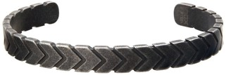 Men's Antiqued Stainless Steel Arrow Cuff Bangle Bracelet