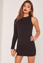 Missguided Petite Exclusive Black One Sleeve Mini Dress