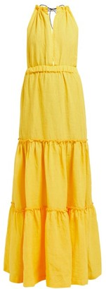 Marios Schwab On The Island By Molakai Halterneck Linen Maxi Dress - Womens - Yellow