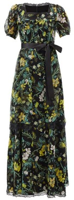 Erdem Florencia Ashcombe Forest-print Silk Gown - Black Multi