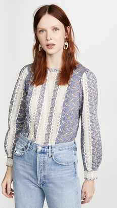 La Vie Rebecca Taylor Long Sleeve Woodblock Lace Top