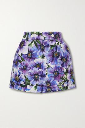 Dolce & Gabbana Floral-print Cotton And Silk-blend Twill Shorts - Purple