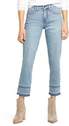 Jen7 High Waist Double Release Hem Ankle Straight Leg Jeans