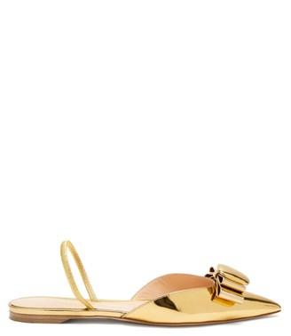 Rupert Sanderson Belinda Pebble Mirrored-leather Slingback Flats - Womens - Gold