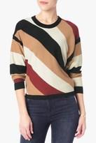 7 For All Mankind Multi Stripe Sweater In Cream And Cognac