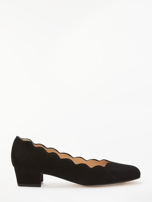 John Lewis & Partners Aiyanna Suede Scallop Mid Heel Court Shoes