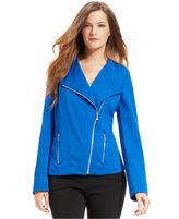 Calvin Klein Jacket, Long-Sleeve Asymmetrical Ponte-Knit Moto