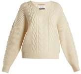 Muveil V-neck pearl-embellished cable-knit sweater