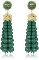 Tory Burch Tory Gold Brass and Resin Beaded Tassel Drop Earrings