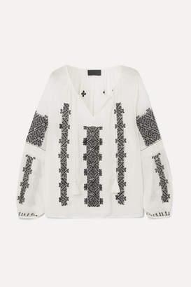 Nili Lotan Alassio Embroidered Cotton-voile Blouse - White